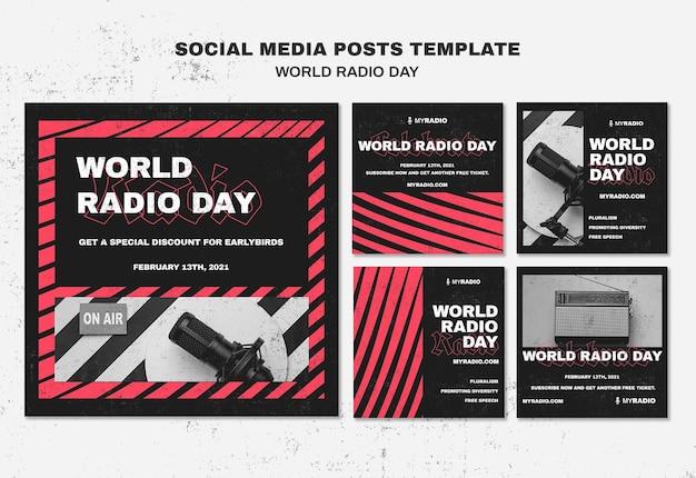 Modelo de postagens do instagram para o dia mundial da rádio