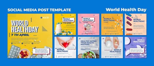 Modelo de postagens do instagram para o dia mundial da saúde