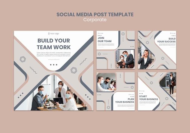 Modelo de postagens do instagram para trabalho em equipe