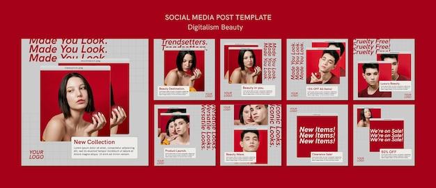 Modelo de postagens em mídia social de beleza digital