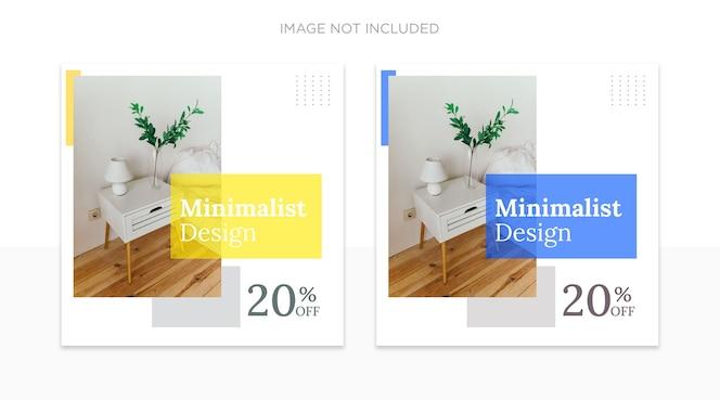 Modelo de postagens em mídias sociais de design de interiores