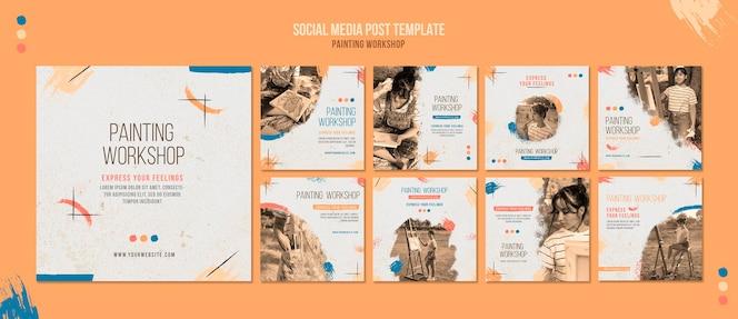 Modelo de postagens em mídias sociais de oficina de pintura