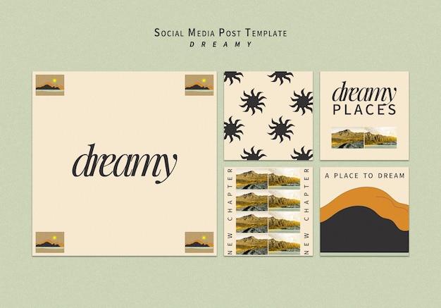 Modelo de postagens em redes sociais de lugares sonhadores