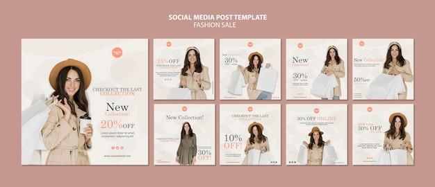 Modelo de postagens em redes sociais de venda de moda