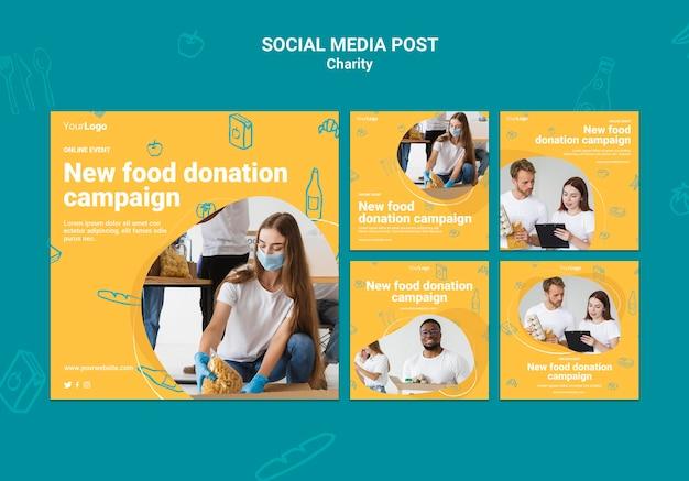 Modelo de postagens no instagram de campanha de caridade
