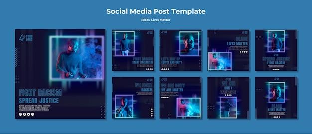 Modelo de postagens - vidas negras importam em mídias sociais