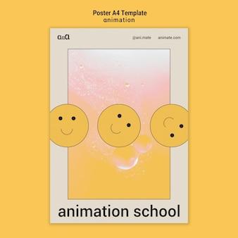Modelo de pôster a4 da escola de animação