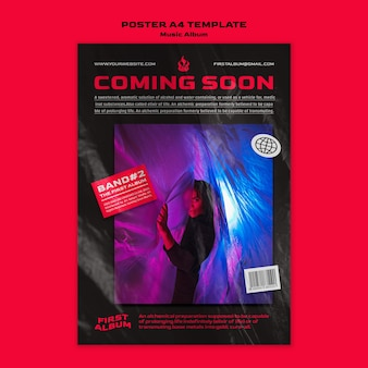 Modelo de pôster a4 de álbum de música