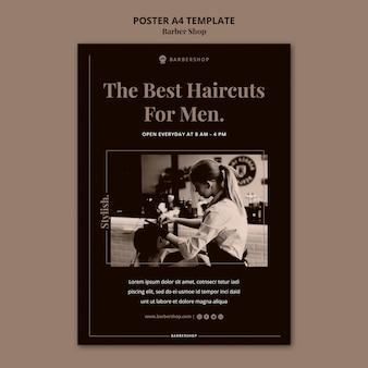 Modelo de pôster a4 de barbearia