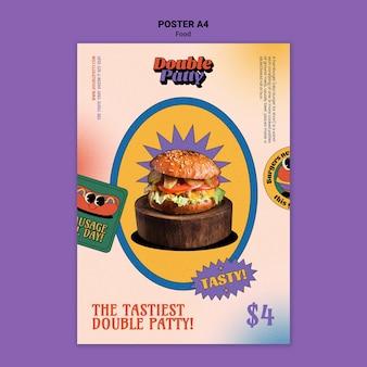 Modelo de pôster a4 de comida deliciosa