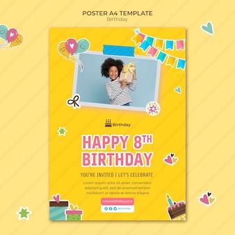 Modelo de pôster a4 de feliz aniversário