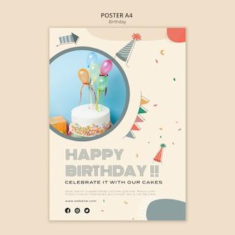 Modelo de pôster a4 para celebração de aniversário