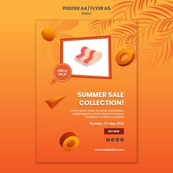 Modelo de pôster coleção liquidação de verão