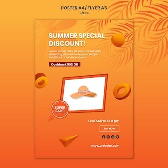 Modelo de pôster com desconto especial de verão