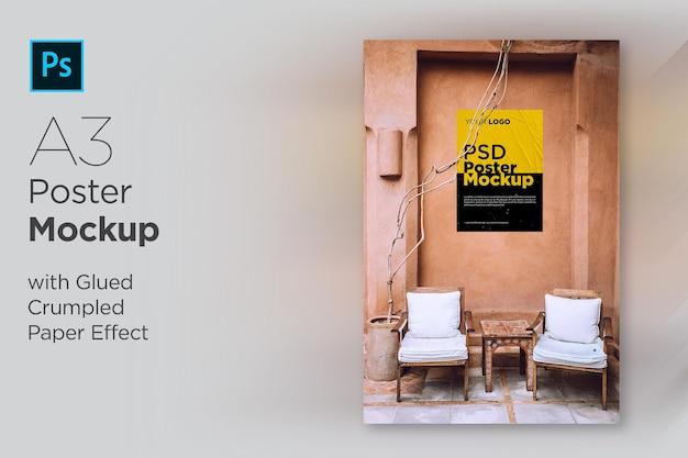 Modelo de pôster com efeito de papel colado e amassado Psd Premium