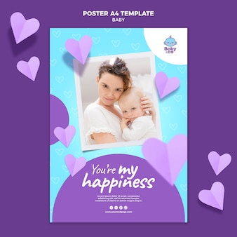 Modelo de pôster com foto de bebê