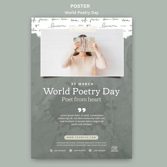 Modelo de pôster com foto de evento do dia mundial da poesia