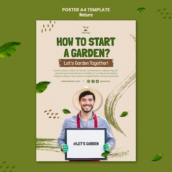 Modelo de pôster com informações de jardinagem