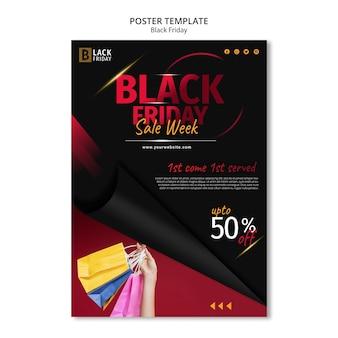 Modelo de pôster conceito black friday
