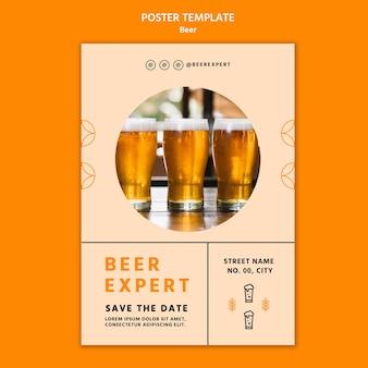 Modelo de pôster conceito de cerveja
