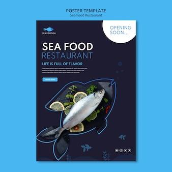 Modelo de pôster conceito de frutos do mar