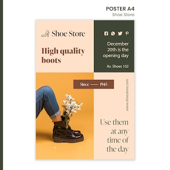 Modelo de pôster conceito de loja de sapatos