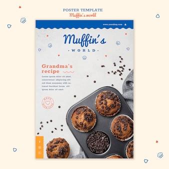 Modelo de pôster conceito de muffins