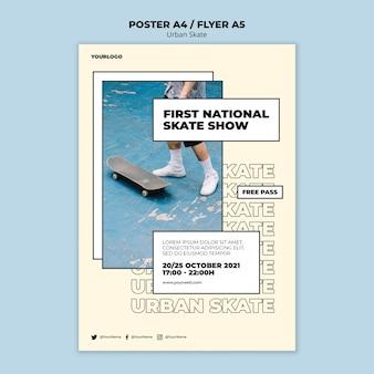 Modelo de pôster conceito de skate urbano