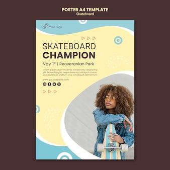 Modelo de pôster conceito de skate