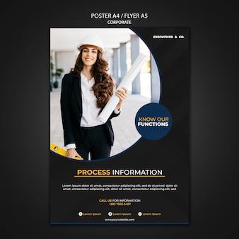 Modelo de pôster corporativo com foto