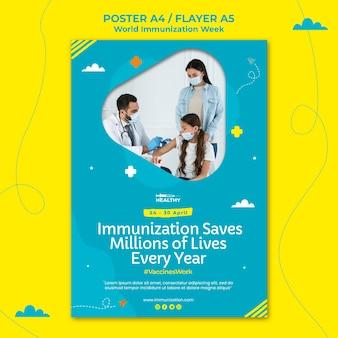 Modelo de pôster da semana mundial de imunização