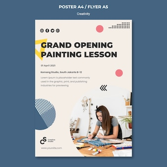 Modelo de pôster de abertura de aula de pintura