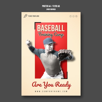 Modelo de pôster de acampamento de treinamento de beisebol