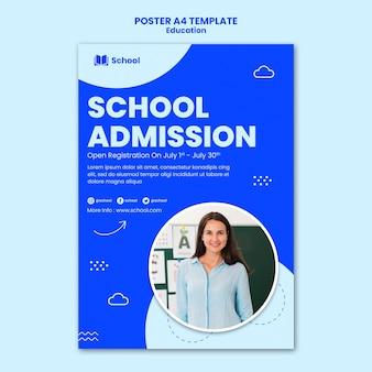 Modelo de pôster de admissão escolar