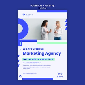 Modelo de pôster de agência de marketing
