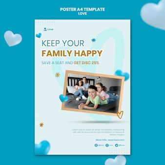 Modelo de pôster de amor em família