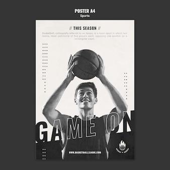Modelo de pôster de anúncio de basquete