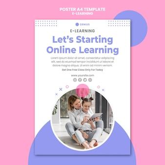 Modelo de pôster de anúncio de e-learning