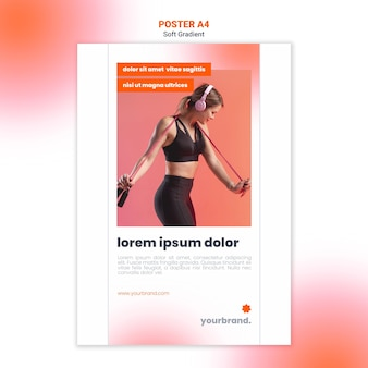 Modelo de pôster de aptidão esportiva para mulher lateralmente
