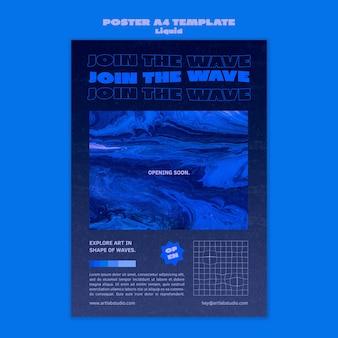 Modelo de pôster de arte wave