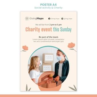 Modelo de pôster de atividades sociais e caridade