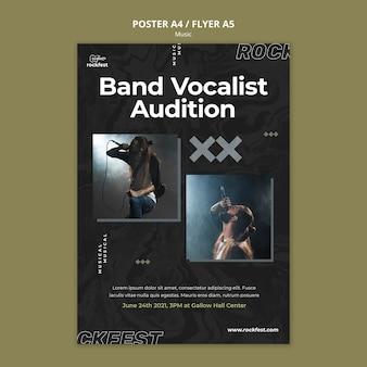 Modelo de pôster de audição de vocalista de banda