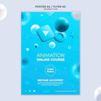 Modelo de pôster de aula de animação