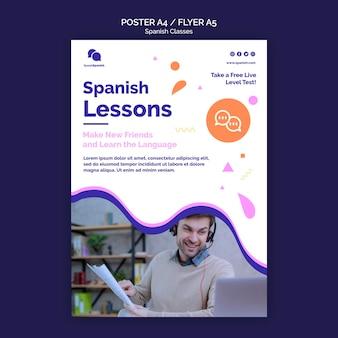 Modelo de pôster de aulas de espanhol