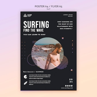 Modelo de pôster de aulas de surfe