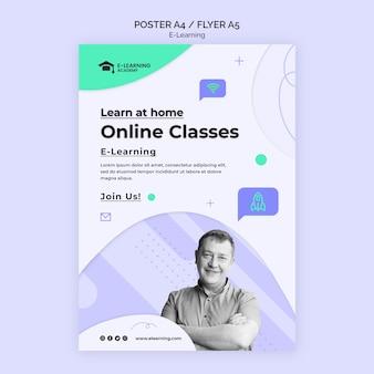 Modelo de pôster de aulas online