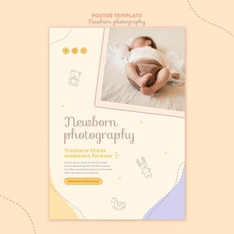 Modelo de pôster de bebê fofo e sonolento
