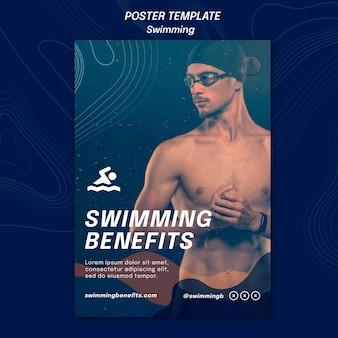 Modelo de pôster de benefícios de natação