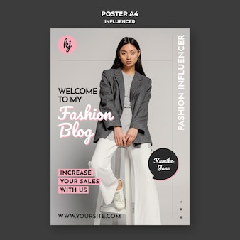 Modelo de pôster de blogueira de moda