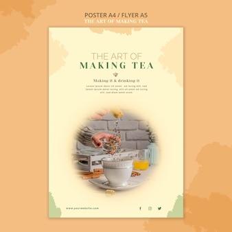 Modelo de pôster de casa de chá